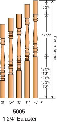 "5005 - Hampton Block Top Baluster - 1-3/4"" Square"
