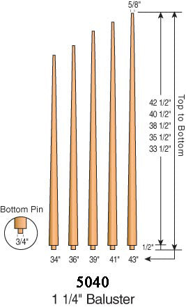 "5040 - ""Pool Cue"" Pin Top Baluster - 1-1/4"" Round"