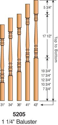 "5205 - Hampton Block Top Baluster - 1-1/4"" Square"