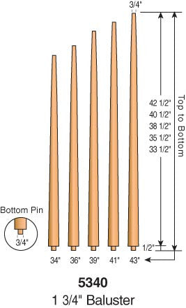 "5340 - ""Pool Cue"" Pin Top Baluster - 1-3/4"" Round"