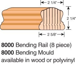 8000-BR - Bending Wood Hand Rail - Non-Plowed