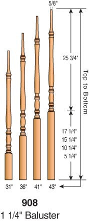 "908 - Classic Pin Top Baluster - 1-1/4"" Square"