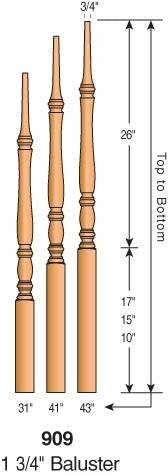 "909 - Classic Pin Top Baluster - 1-3/4"" Square"