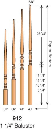 "912 - Classic Pin Top Baluster - 1-1/4"" Square"