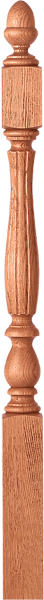 "LJF-39XX - Bristol Fluted Acorn Top Newel - 3-1/4"" Square"