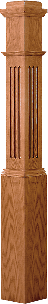"LJF-4091 — Fluted Panel Traditional Box Newel 6-1/4"" Square x 55"""