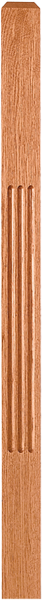 "LJF-4110/4111 - Solid Fluted Craftsman Newel - 3"" Square"