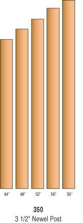 "R-350 - Solid ""Blank"" Newel Posts - 3-1/2"" Square"