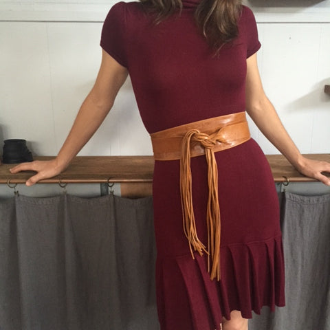 Wrap Around Fringe Belt in Natural