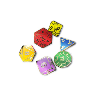 RPG Dice Translucent Enamel Pin Set (6 Pin Set)