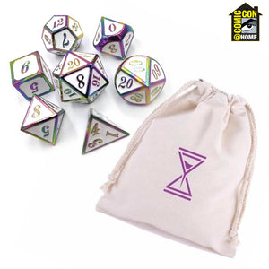 Rainbow Metal RPG Dice with custom printed cotton bag