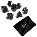 Halloween Night Metal RPG Dice with custom printed cotton bag