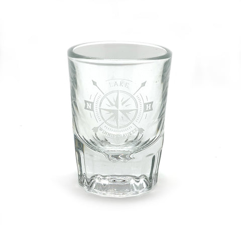 New Hampshire Glass Compass Shot Glass