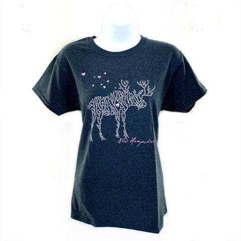 Ladies New Hampshire Moose Heart Tee