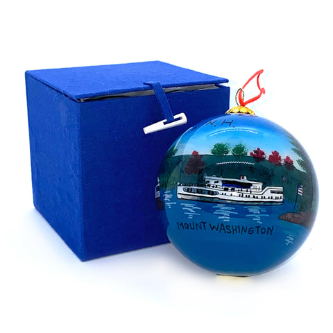 Handpainted M/S Mount Washington Glass Globe Ornament