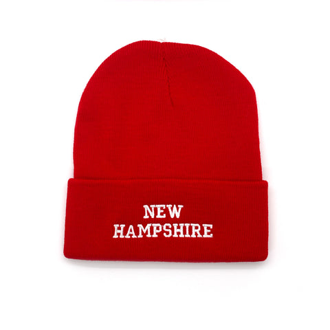 New Hampshire Adult Red Ski Cap