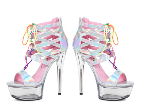 "6"" Hologram Sandal With Rainbow Laces - Rave Rebel"