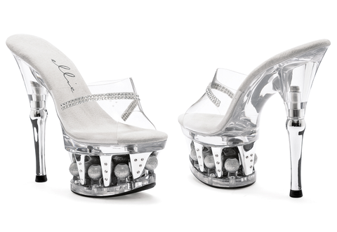 "6"" Heel Clear Rhinestone Mule With disco ball platform - Rave Rebel"
