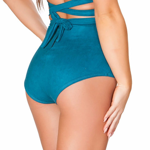 Teal Suede High Waisted Shorts - Rave Rebel