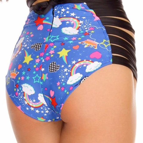 Unicorn Strappy High Waisted Shorts - Rave Rebel