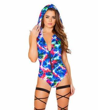 Electric Hooded Romper with Zipper - Rave Rebel