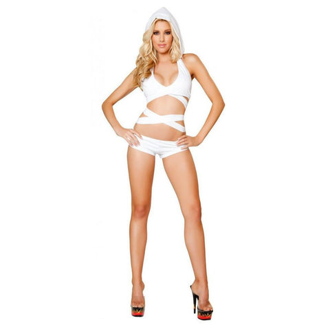 Solid White Wrap Around Top with Detachable Hood - Rave Rebel