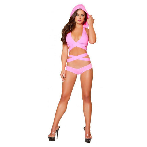 Hot Pink Wrap Around Top with Detachable Hood - Rave Rebel