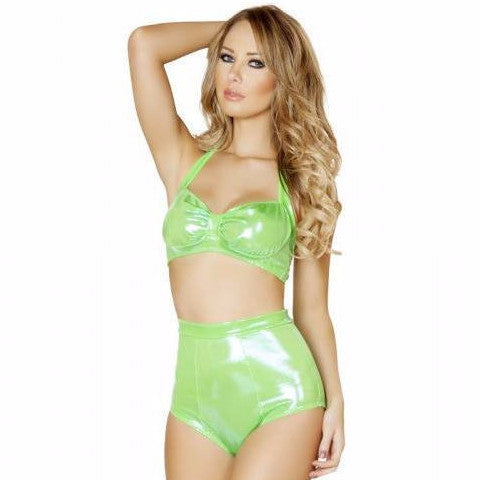 Lime Green High Waisted Shorts - Rave Rebel