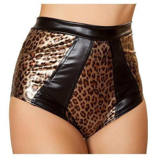 Two Tone Leopard High Waisted Shorts - Rave Rebel