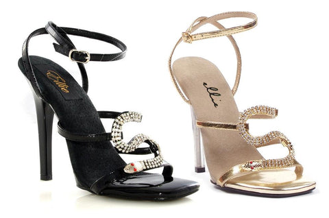 "5"" Heel Strap Sandal with Snake Décor - Rave Rebel"