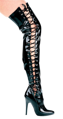 "5"" Heel Thigh High Stretch Boot With Side Laces - Rave Rebel"