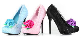 "5"" Satin Pump With Flower And Rhinestone Decor Women - Rave Rebel"