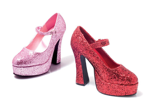 "5"" Chunky Heel Glitter Mary Jane - Rave Rebel"