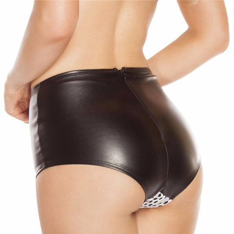 Black Faux Leather Fishnet High Waisted Shorts - Rave Rebel
