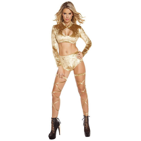 Gold Velvet Long Sleeve Crop Top - Rave Rebel