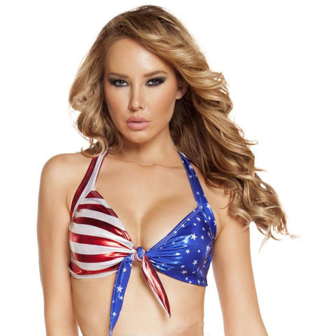 US Flag Tie Up Halter Top - Rave Rebel