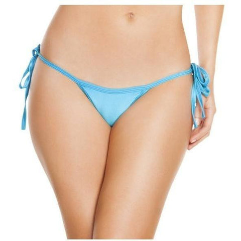 Turquoise Low Rise Tie Side Bikini Bottoms