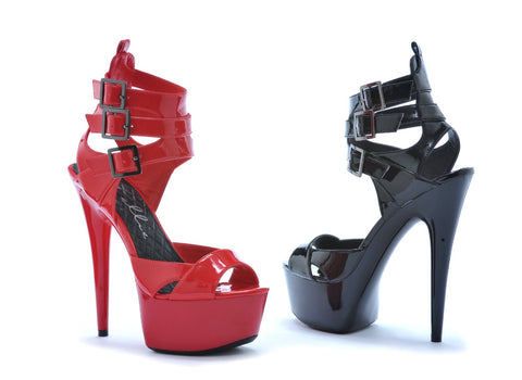 "6"" PEEP TOE PLATFORM WITH TRIPLE STRAP AND BUCKLE DETAIL - Rave Rebel"