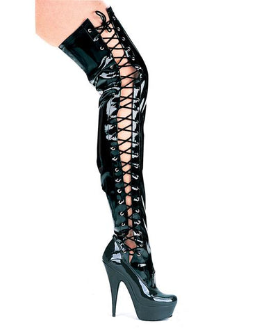 "6"" Pointed Stiletto Thigh High stretch Boots With Side Laces - Rave Rebel"