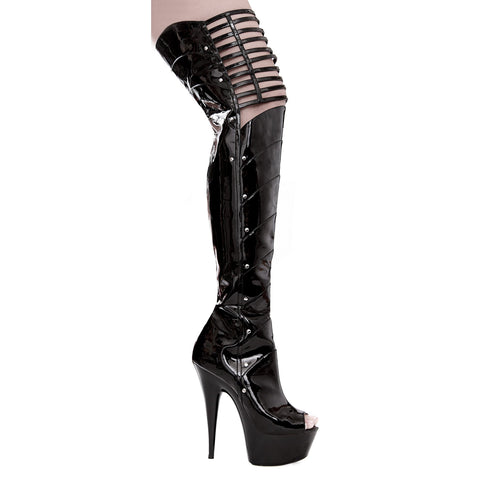 "6"" PEEP TOE THIGH HIGH With  KNEE CUT-OUTS - Rave Rebel"
