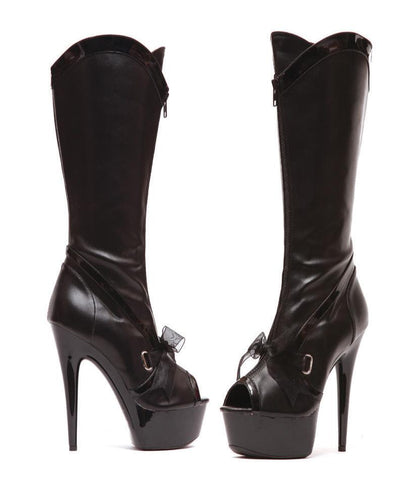 "6"" PEEPTOE KNEE HIGHT BOOT WITH RIBBON ACEENT - Rave Rebel"