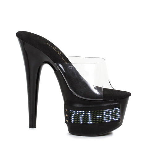 "7"" Pointed Stiletto Mule LED - Rave Rebel"