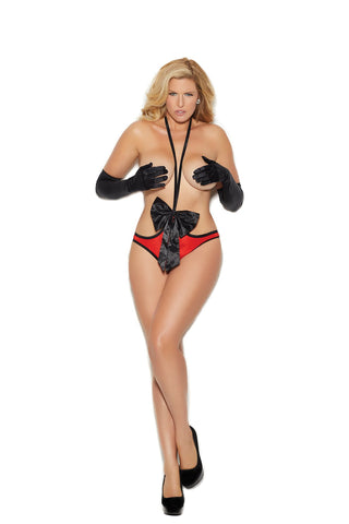 OPEN BUST SATIN TEDDY - Rave Rebel