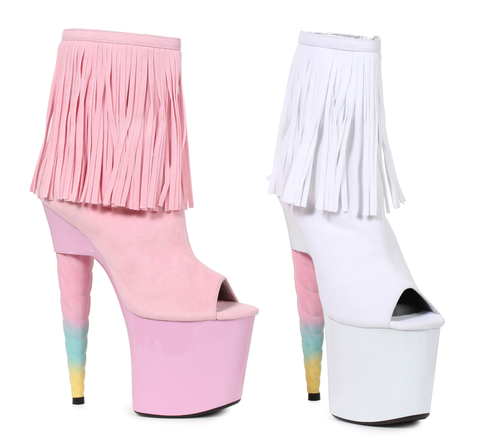 "7"" Unicorn Heel Platform Bootie with Fringe - Rave Rebel"