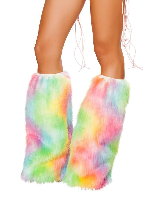 Rainbow Faux Fur Leg Warmers - Rave Rebel