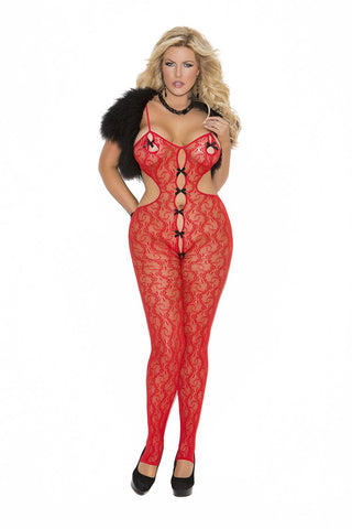 LACE BODYSTOCKING W/BOW DETAIL