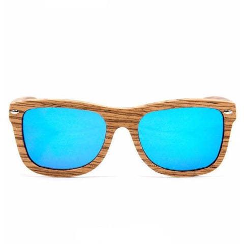 Zebra Wood Sunglasses – Polarized Blue Mirror - Rave Rebel