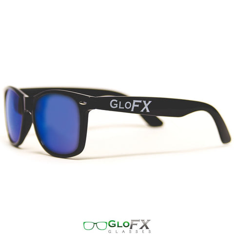 GloFX Diffraction Glasses – Black – Blue Mirror - Rave Rebel