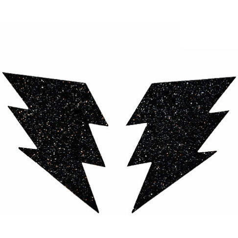 Black Malice Glitter Bolt Black Pasties - Rave Rebel