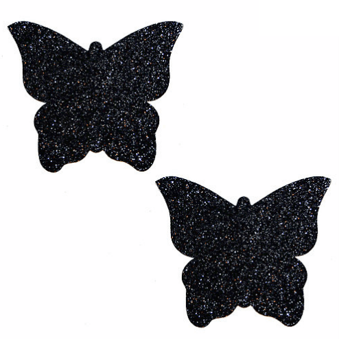 Black Malice Glitter Butterfly Pasties - Rave Rebel